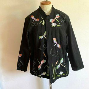 Quacker Factory Zip Front Jacket Dragonfly XXL
